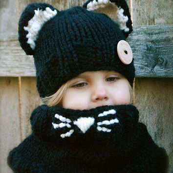 Chunky Crochet Kitten Hooded Child's Scarf
