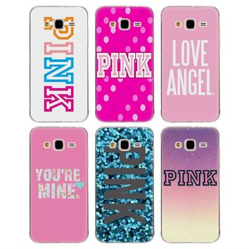 Soft TPU Phone case Pink Letter word for Samsung
