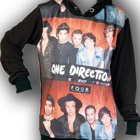 One Direction 1D Boyband Punk Rock Hoodie Jacket Biker Sweater Tops Women Girl Sz S,M,L