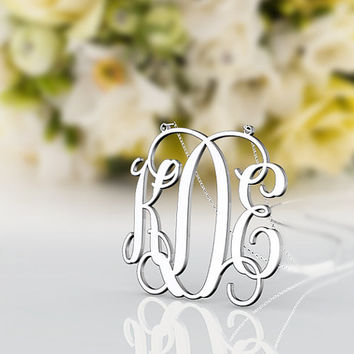 KDE style monogram necklace --1 inch 925 sterling silver letter customized necklace jewelry