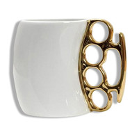 Gold Brass Knuckles White Ceramic Coffee Mug