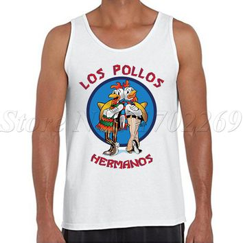 Breaking Bad Men fashion tank tops cartoon printed LOS POLLOS HERMANOS male Vest o-neck funny minions singlets