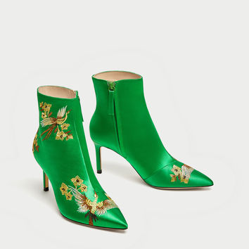 EMBROIDERED SATIN HIGH HEEL ANKLE BOOTS DETAILS