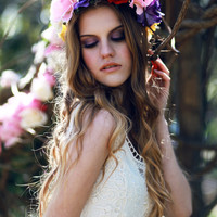 Floral hair wreath, flower crown, rose headpiece