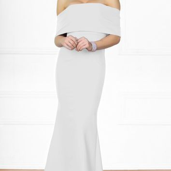 Indie XO Dress You Up White Short Sleeve Off The Shoulder Bow Back Slit Maxi Dress Evening Gown