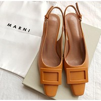 MARNI Fashion Women Leather Sandals Shoes High Heels Brown