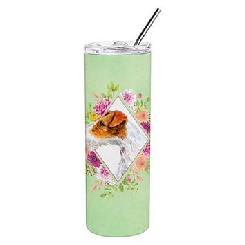 Jack Russell Terrier #2 Green Flowers Double Walled Stainless Steel 20 oz Skinny Tumbler CK4302TBL20