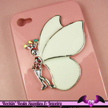 XL FAIRY with White Wings and Crystals  Decoden Cabochon Cell phone Decoration