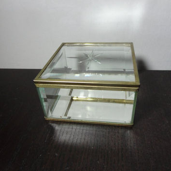 Vintage Square Glass and Brass Display Box with Mirrored Bottom and Etched Starburst on the Lid