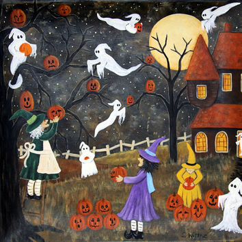 Halloween Folk Art Painting, Primitive Plate, Hand Painted Fall Decor, Spooky  Tree, Witches, Ghosts, Haunted House, Pumpkins MADE TO ORDER