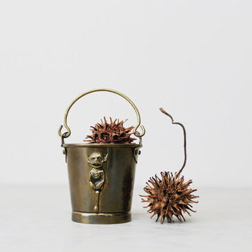 Vintage Brass Lincoln Imp Bucket - Small Brass Bucket Pail - Devil Imp Folklore Legend Lincolnshire, England