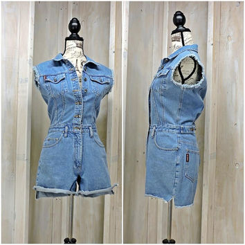 Womens denim romper / blue jean shorts jumpsuit / frayed sleeveless denim one piece shorts / 90s Unionbay /size S / M
