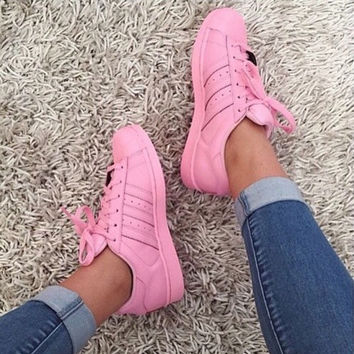 """Adidas"" Shell-toe Sneakers Sport Shoes Pure Color Flats Pink"