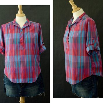 80s Stripped Blouse, Women's Button Up Blouse,  Multi Color Shirt, 80s Plus Size 14 Shirt, Blue Plaid Shirt, Back To School, Fall Fashion