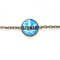 Blue Stoner Bracelet - Single Charm Chain Link Bracelet - Pastel Goth Soft Grunge Marijuana Leaf Jewelry - Stoner Pothead 420 Friendly Gift