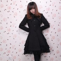 Classic Lolita Single Breasted Long Winter Coat with Lace Trimming