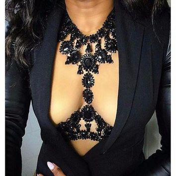 Black Crystal Water Drop Body Chain