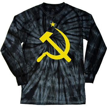 Soviet Union Shirt Yellow Hammer and Sickle Long Sleeve Tie Dye