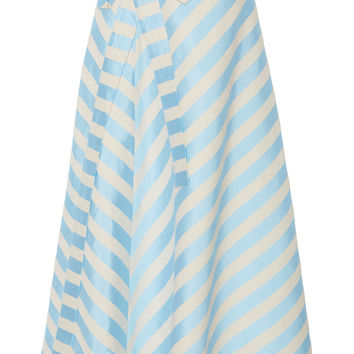 Bow-Embellished Striped Linen-Blend Midi Skirt | Moda Operandi