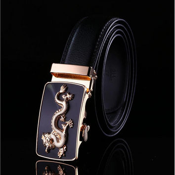 Men Leather Belt Waist Strap Automatic Buckle