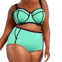 Ebuytide Women's Plus Size High Waist 2-Piece Swimwear Swimsuit