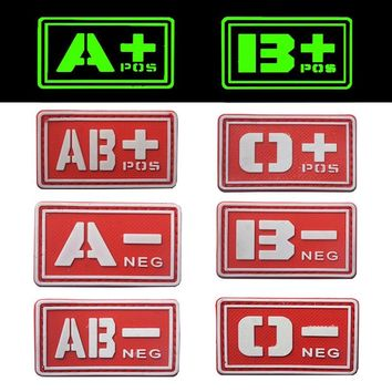 REEBOW TACTICAL 2X RED A B O AB Blood Type Patches Noctilucent Luminous POS NEG Military Emergency Rescue PVC Morale Patches