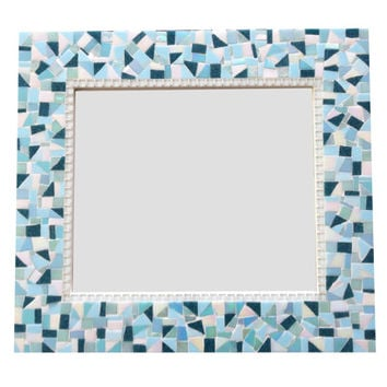 Wall Mirror // Mosaic // Decorative Mirror // Aqua Teal White