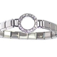 CZ Circle of Friends or Circle Italian Charm Bracelet
