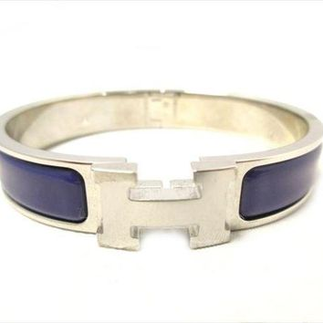 HERMES Clic Clac PM Bracelet Bangle Silver Purple Free Shipping NOS Mint #2058