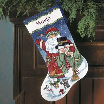 """Dimensions Counted Cross Stitch Kit 16"""" Long-Santa & Snowman Stocking (14 Count)"""