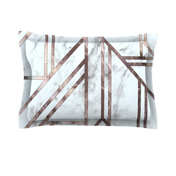 "KESS Original ""Dark Marble Mosaic"" Digital Geometric Pillow Sham"