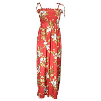 bamboo orchid red hawaiian maxi dress