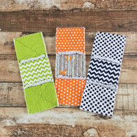 Ready To Ship Burp Cloths Rag Quilt Style Burp Pads Fox Chevron Orange Green Blue
