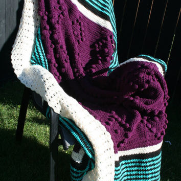 Crochet Purple Popcorn Diamonds with Teal Black and Cream Stripes Afghan Blanket Bedspread