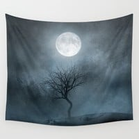 The Moon and the Tree. II Wall Tapestry by Viviana Gonzalez