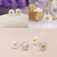 1 Pair Daisy Sunflower Ear Studs 925 Sterling Silver Plated Earrings = 1645842564