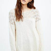Blu Pepper Crochet Insert Jumper in Cream - Urban Outfitters