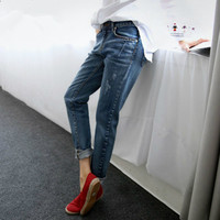 Boyfriend Jeans For Women 2017 Hot Sale Vintage Distressed Regular Spandex Ripped Denim Harem Pants Woman Jeans 16815