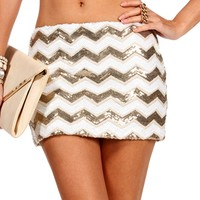 GoldIvory Sequin Chevron Skirt