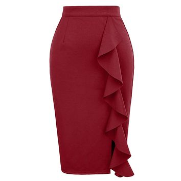 GRACE KARIN Women's Ruffle Bodycon Knee Length Midi Pencil Skirt