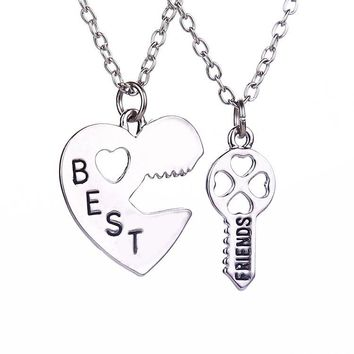 Hot Sale Best Friends Necklaces Long Chain Key Inset Heart Necklaces Couple Friendship Necklace For Gifts Womens Necklaces