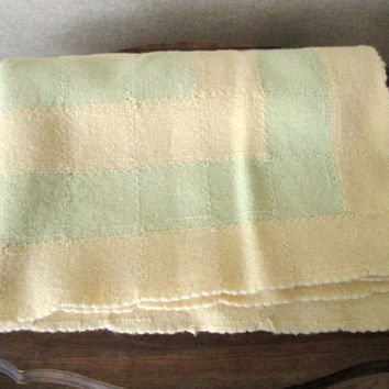 Wool Throw Blanket Vintage 40s 50s baby christening boy or girl handwoven blanket pale yellow green coverlet for crib or child's bed