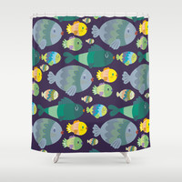 Fish pattern Shower Curtain by Maria Jose Da Luz