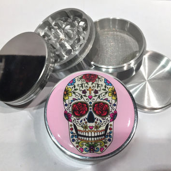 "Pink Sugar Skull 4 Piece Silver Alumium Grinder 2.5"" Day of the Dead Skeleton"