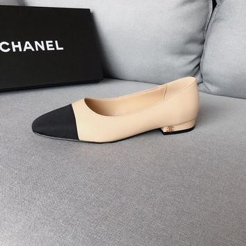 chanel hollow classic leather casual female flat flesh