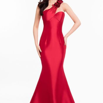 Terani Couture - 1821E7106 Velvet Rose Accented Mikado Long Gown