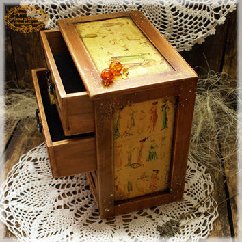 """Decoupage wooden chest drawers """"Fashion time"""" / vintage look wooden mini chest drawers"""
