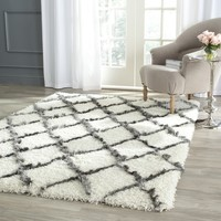 Safavieh Moroccan Shag Ivory/ Grey Rug (5'1 x 7'6) | Overstock.com Shopping - The Best Deals on 5x8 - 6x9 Rugs