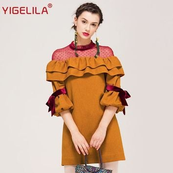 YIGELILA Brand 62336 Women Lantern Sleeve Dress Fashion Cute O-neck Ruffle Patchwork Mesh Mini Dress