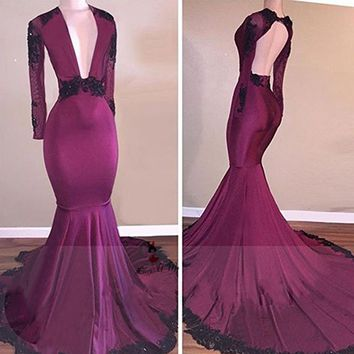 Black Lace Purple Long Sleeve Prom Dresses 2018 Beads Backless Vestidos de Formatura Mermaid Formal Evening Party Dress V Neck
